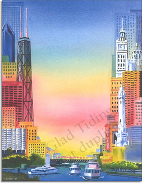 a fun city scene laser paper with a colorful background and a unique view of the city.   Colored envelopes are available but are sold seperately.